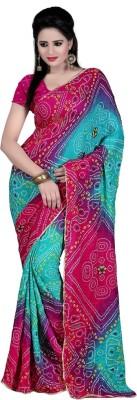Sangeetasarees Printed Bandhej Crepe Sari