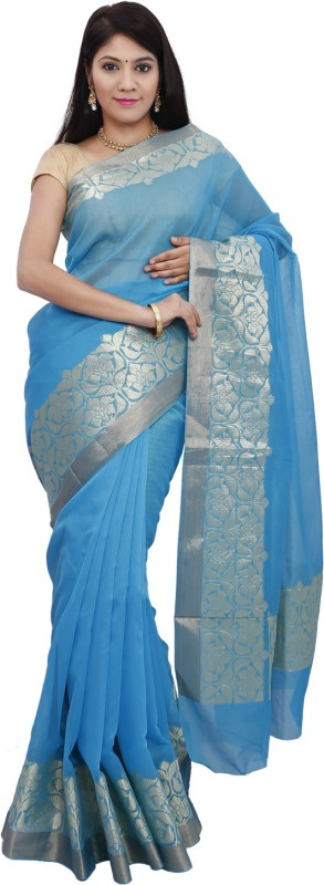 Mann Solid Banarasi Handloom Banarasi Silk Saree(Light Blue)