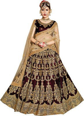 jai dadi narayani enterprises Embroidered Phulkari Velvet Saree(Pack of 3, Brown, Gold) at flipkart