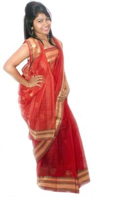 S.B Textiles Solid Tant Handloom Cotton Linen Blend Sari