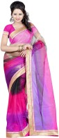 Kajal Sarees Solid, Self Design Bollywood Georgette Sari(Pink, Black, Gold)