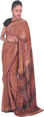 PurpleYou Embriodered Fashion Crepe Sari