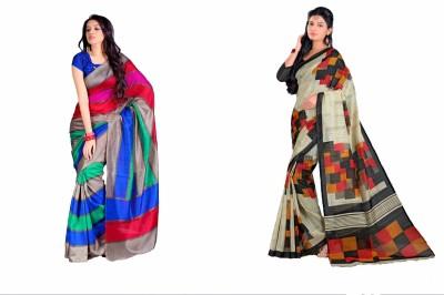 Swaranjali Striped, Checkered, Geometric Print Fashion Art Silk, Cotton Sari
