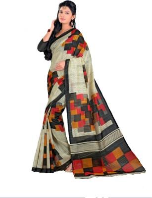 Swaranjali Checkered, Geometric Print Fashion Art Silk Sari