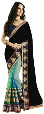 Alberts Striped, Embriodered Bollywood Georgette, Net Sari