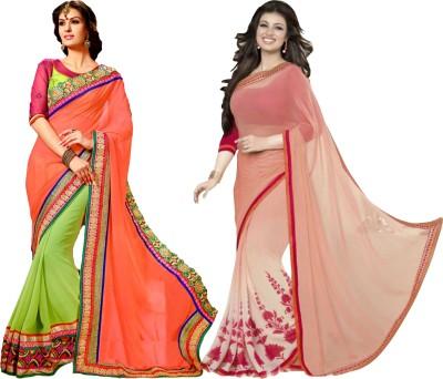 MAA CREATION Solid Fashion Georgette Sari