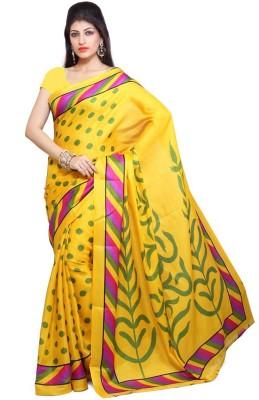 AKSH FASHION Printed Bhagalpuri Silk Sari