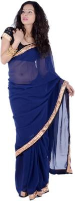 Bashii Solid Bollywood Georgette, Lace Sari