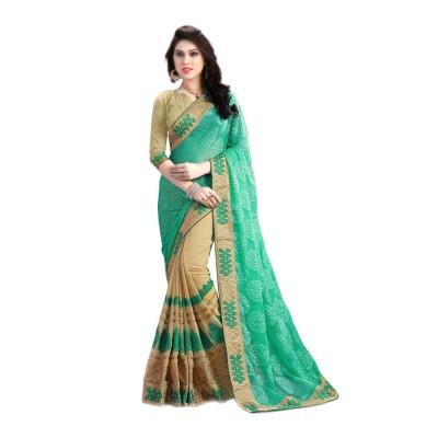 Om Shantam Sarees Geometric Print, Embriodered, Self Design, Graphic Print Fashion Pure Georgette Sari