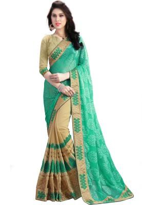 Om Shantam Sarees Geometric Print, Embroidered, Self Design, Graphic Print Fashion Pure Georgette Saree(Green, Beige)