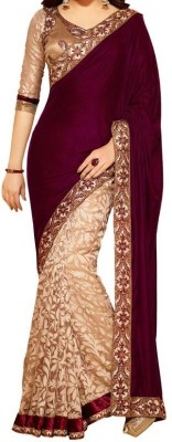 Saiyaara Fashion Self Design Bollywood Velvet, Chanderi Sari