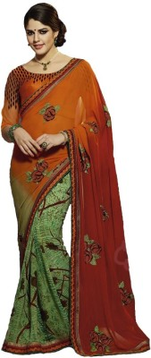 Cozee Shopping Embriodered, Printed Fashion Georgette, Printed Silk Sari