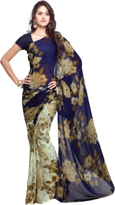 Ligalz Printed Daily Wear Chiffon Saree(Blue) at flipkart