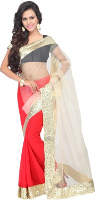 Shree Parmeshwari Solid Bollywood Net, Georgette Sari