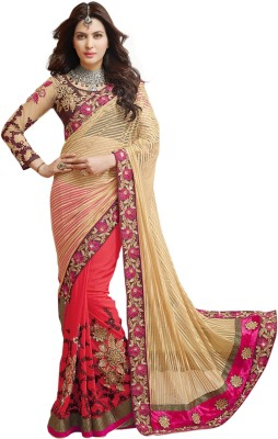 Prerana Fashion Embriodered Fashion Net, Jacquard, Georgette Sari
