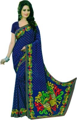 Purple Boat Floral Print Fashion Pure Crepe Sari