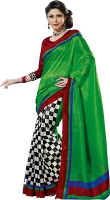 Prafful Solid, Checkered Daily Wear Art Silk Sari