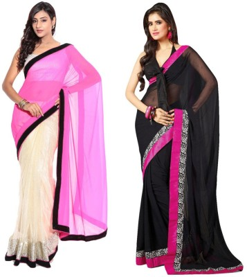 Bhuwal Fashion Self Design Fashion Chiffon Sari(Pack of 2, Pink, Black)