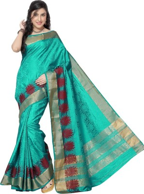 Rani Saahiba Self Design Kanjivaram Jacquard, Art Silk Sari(Light Blue)