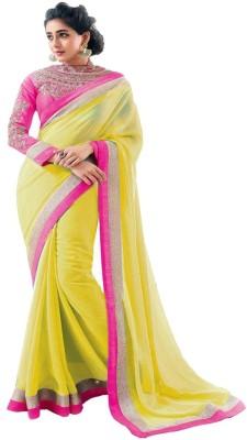 Aabha N Alia Plain Fashion Georgette Sari