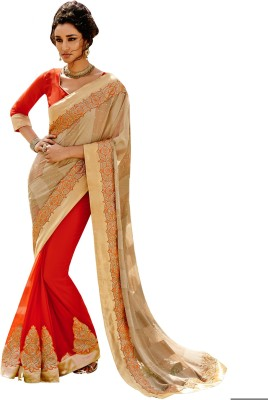 The Ethnic Chic Embriodered Fashion Brasso, Georgette Sari