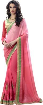 Aagamanfashion Self Design Fashion Shimmer Fabric, Georgette, Chiffon Sari