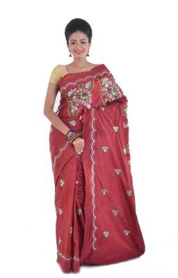Ksc Embriodered Jamdani Handloom Silk Sari