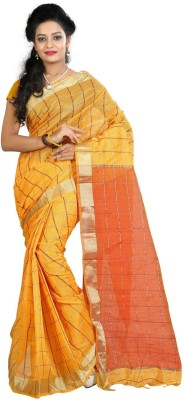 Needle Impression Printed Assam Silk Handloom Silk Sari(Yellow)