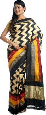 BlackBeauty Woven Pochampally Handloom Pure Silk Saree(Black, Beige) at flipkart