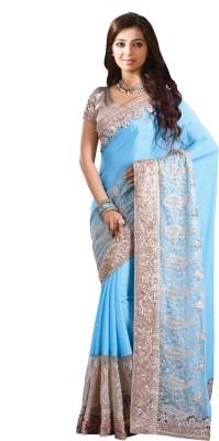 Chirag Sarees Embroidered Bollywood Crepe Sari(Blue)