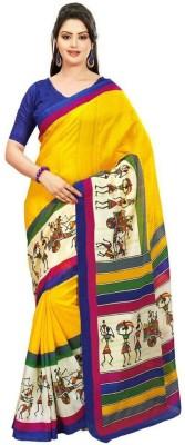 Swaranjali Graphic Print, Self Design Fashion Art Silk, Cotton Sari