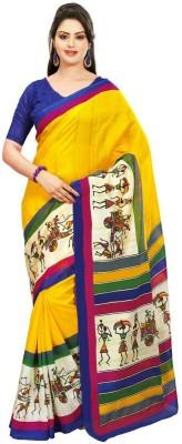 Geordie Graphic Print, Self Design Fashion Art Silk, Cotton Sari
