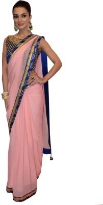 Greenvilla Designs Plain Fashion Georgette Sari