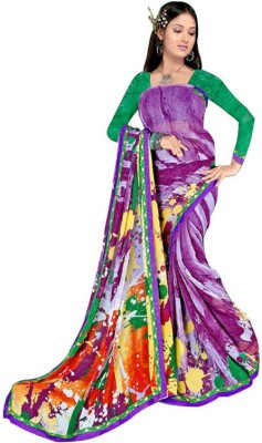 Generation Touch Printed Chanderi Synthetic Georgette Sari