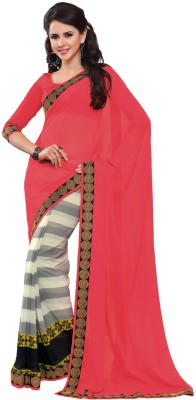 Subhash Sarees Solid, Striped Daily Wear Chiffon Sari