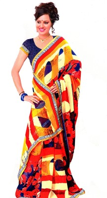 Fashion Fiasta Applique Fashion Synthetic Georgette Sari