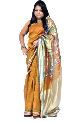 Gulmohaar Geometric Print, Graphic Print Bollywood Poly Silk Sari