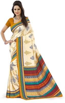 AJS Paisley, Geometric Print, Striped, Printed Fashion Art Silk Sari