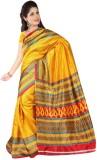 Varibha Plain Fashion Silk Saree (Yellow...