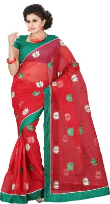 Weavedeal Embellished, Embriodered Bollywood Cotton, Net Sari