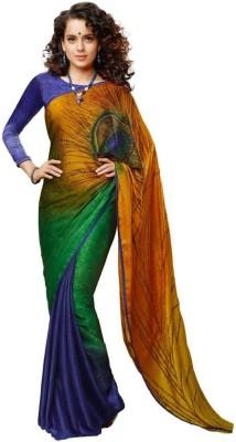 Kia Fashions Floral Print Bollywood Handloom Satin Sari