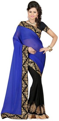 Krishna Emporia Self Design Bollywood Georgette Sari