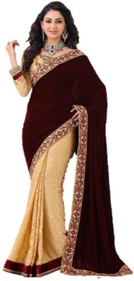 Krishna Emporia Self Design Bollywood Velvet Sari