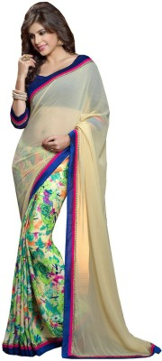 Kartika Fashions Floral Print Daily Wear Satin Sari