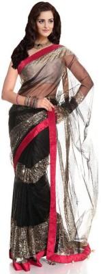 VINCITORE Plain Fashion Net Sari