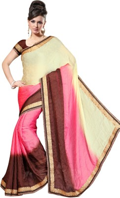 Highchoice Creation Embriodered, Solid Bollywood Handloom Brasso Sari