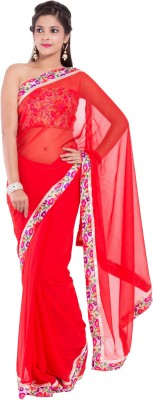 Mitali's Collection Solid Bollywood Synthetic Sari