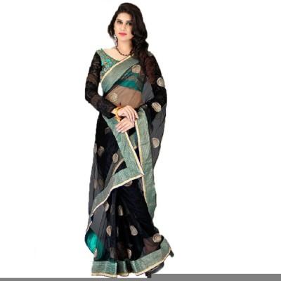Lime Embellished Fashion Handloom Net Sari