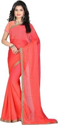 STARLIGHT CLUB Self Design Fashion Georgette Sari(Orange)