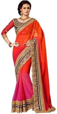 s n print Embriodered Katha Chiffon Sari